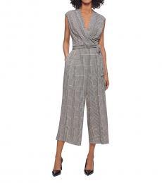 Calvin Klein Black Checkered V-Neck Belted Jumpsuit