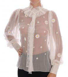 Dolce & Gabbana White Daisy Print Shirt