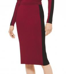 Maroon Contrast Stripe Pencil Skirt
