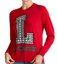 Love Moschino Red Studded Long Sleeve Sweater