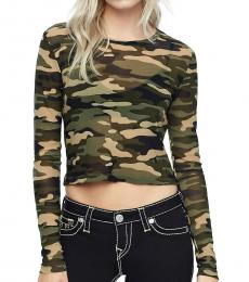 True Religion Camo Print Mesh Crop Top