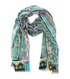 Etro Black Green Scarf