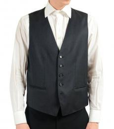 Hugo Boss Dark Grey Wool Button Up Dress Vest