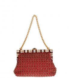 Dolce & Gabbana Red Sequined Medium Shoulder Bag