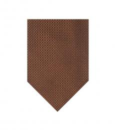 Burnt Orange Rope Pattern Silk Tie