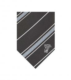 Versace Black Grey Striped Tie