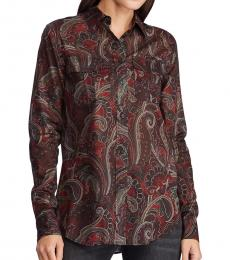 Black Straight-Fit Printed Shirt