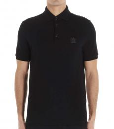 Black Solid Logo Polo