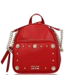 Versace Jeans Red Studded Small Backpack