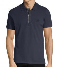 Navy Short-Sleeve Stretch Polo