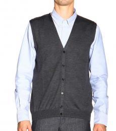 Grey V-Neck Wool Cardigan