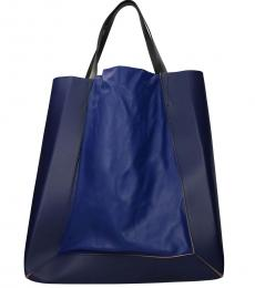 Blue/Dark Chambray Solid Colorblock Large Tote