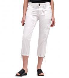 White Cropped Cargo Pant