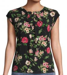 Karl Lagerfeld Black Floral Pleated Top