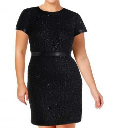 Karl Lagerfeld Black Knit Faux Leather Trim Dress