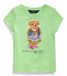 Ralph Lauren Little Girls Key Lime Madras Bear T-Shirt