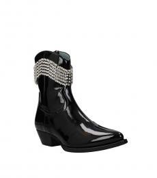 Chiara Ferragni Black Rhinestone Ankle Boots