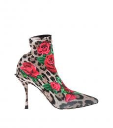 Leopard Print Floral Sock Boots