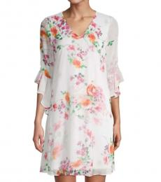 Cream Magenta Floral Bell-Sleeve Shift Dress