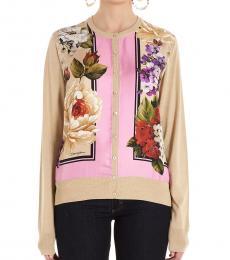 Dolce & Gabbana Beige Floral Insert Twill Cardigan
