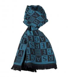 Versace Teal Black Checkerboard Signature Scarf