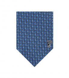 Versace Sky Blue Geometric Silk Tie