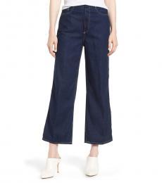 Dark Blue Etta High-rise Wide Leg Cropped Jeans