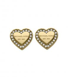 Michael Kors Gold Heritage Heart Crystal Stud Earrings