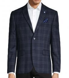 Ben Sherman Navy Blue Standard-Fit Plaid Sportcoat