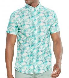 Aqua Short Sleeve Palm Shirt