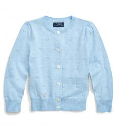 Ralph Lauren Little Girls Light Blue Knit-Heart Cardigan