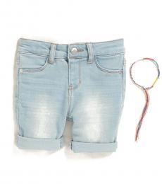 Littlr Girls Blue Ludlow Cuffed Denim Shorts