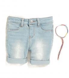 DKNY Littlr Girls Blue Ludlow Cuffed Denim Shorts