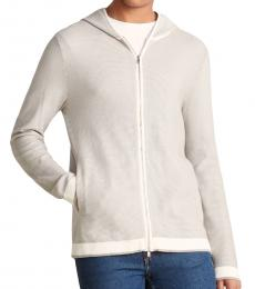 Theory Light Grey Braghe Knit Hoodie Jacket
