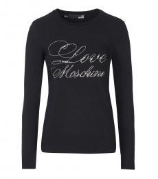 Love Moschino Black Classic Rhinestones Logo Tee