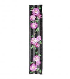 Black Marie Striped Floral Scarf