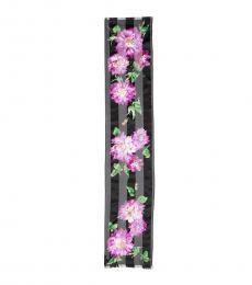 Ralph Lauren Black Marie Striped Floral Scarf