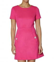 Watermelon Bliss Embellished A-Line Work Dress