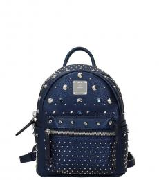 Blue Studded Mini Backpack