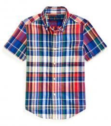Ralph Lauren Little Boys Red Multi Madras Shirt