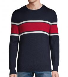 Calvin Klein Navy Colorblock Wool-Blend Sweater