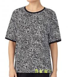 DKNY Black Logo Abstract-Print Top