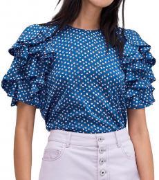 Kate Spade Amulet Blue Geometric Ruffle-Sleeve Top