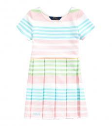 Ralph Lauren Little Girls White Multi Striped Ottoman-Rib Dress
