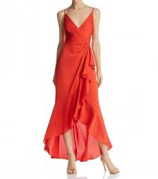 BCBGMaxazria Bright Red Faux-Wrap Evening Dress