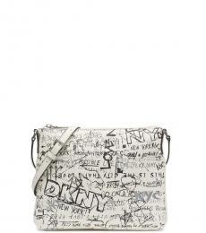 DKNY White Erin Graffiti Medium Crossbody