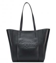 Alexander McQueen Black Embossed Logo Medium Tote
