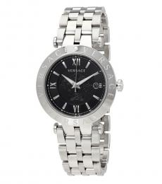Versace Silver V-Race Black Dial Watch