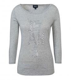 Armani Jeans Grey Scoop Neck Logo Tee