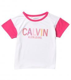 Calvin Klein Girls White Colorblock Ringer Logo T-Shirt